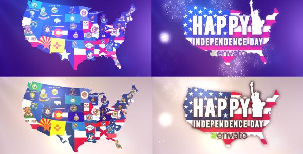 USA States Flags Logo