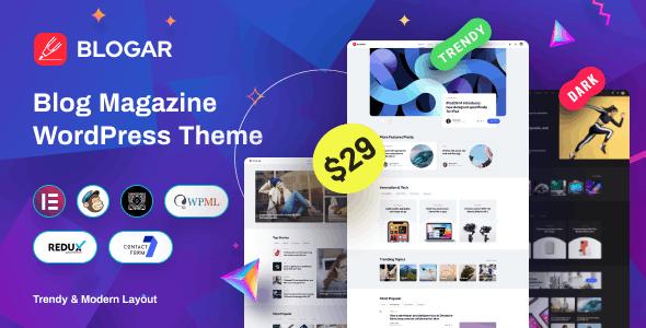NULLED Blogar v1.0.2 - Blog Magazine WordPress Theme